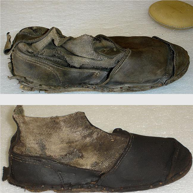 A concentration camp inmate's shoe, before and after conservation, June 2012