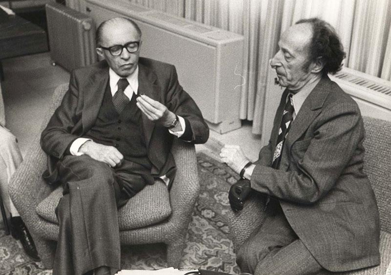 Chaim Lazar showing the contact ring to the late Prime Minister Menachem Begin, Tel Aviv, 1978
