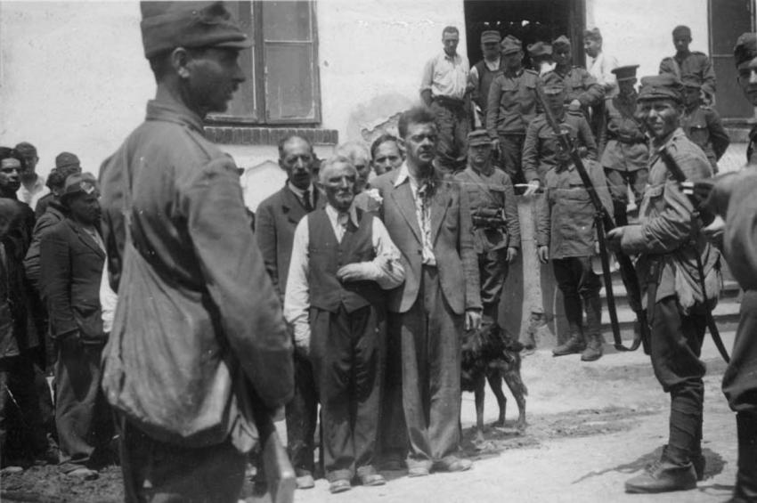 Roundup of Jews during a pogrom in Iasi, Romania, June 1941