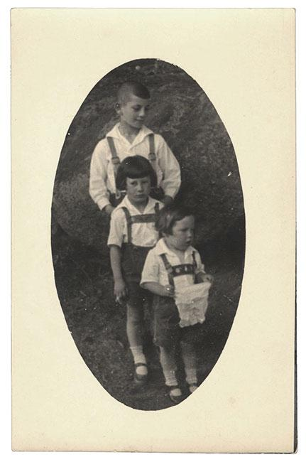 Werner, Friedl and Guenther in traditional Bavarian dress, Nabburg, Germany 1930