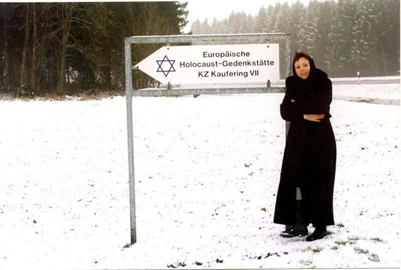 Haviva Peled-Carmeli, Director of the Artifacts Department, at the site of the Kaufering concentration camp in advance of the transfer of a prisoner barrack to Yad Vashem. Winter 2003