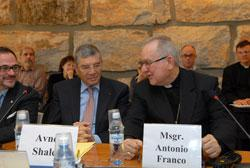 """Yad Vashem Chairman Avner Shalev (left) listens as Vatican Nuncio Mnsg. Antonio Franco makes a point this morning during the opening of the academic workshop on """"Pope Pius XII and the Holocaust: Current State of Research"""" at Yad Vashem. Photo: Isaac Harar"""