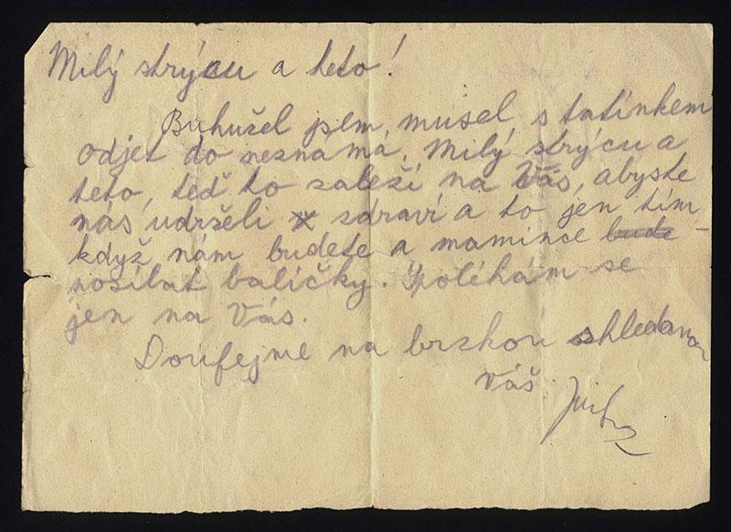 Jiri's final letter, sent to his uncle Hanus Tauber who was still free in Prague, 1944