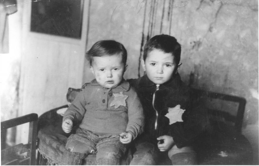 Kovno, Lithuania, February 1944 - Avraham Rosenthal, aged 5 and his two year old brother Emanuel