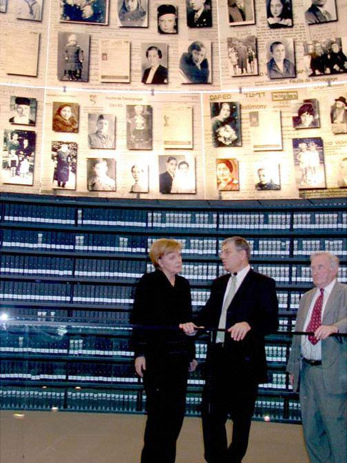 German Chancellor Angela Merkel and Avner Shalev in the Hall of Names