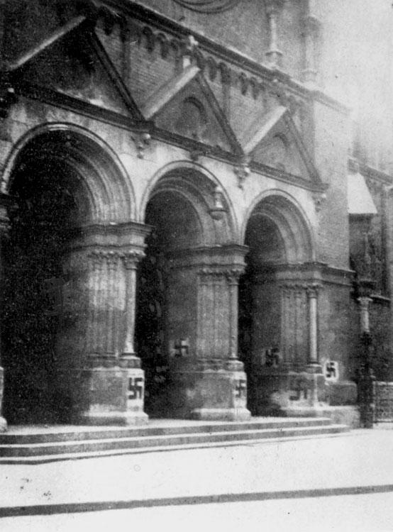 A vandalized synagogue in Munich, Germany, April 1927