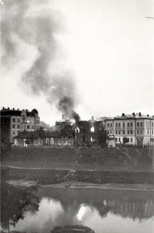 A synagogue burning in Przemysl, Poland, September 1939