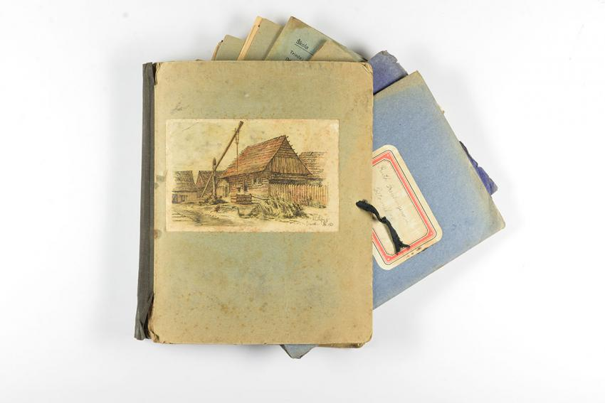 Folder of notebooks belonging to Ruth Pressburger of Bratislava, who was murdered during the Holocaust