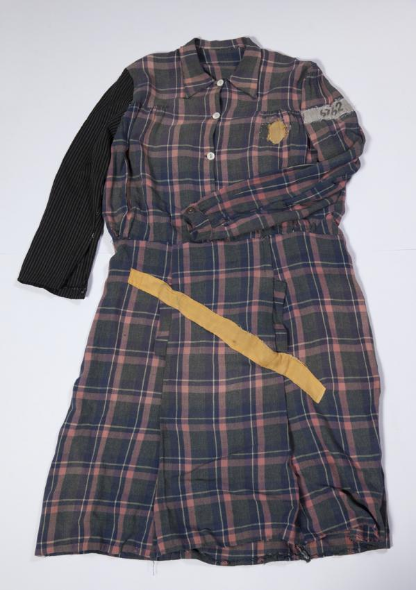Dress worn by Genia Dvorkin in labor camps in Estonia and Germany