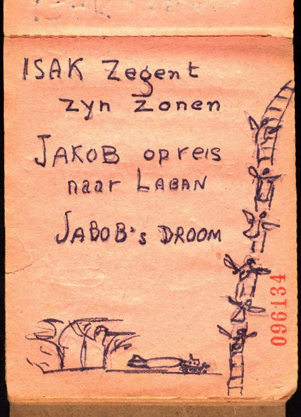 """Jacob's Dream"", as drawn by Eliezer Dasberg for his young daughter Dina in a notebook in the Bergen-Belsen camp"