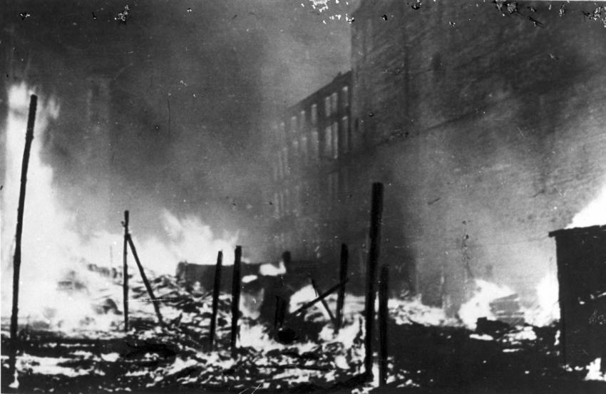 The remains of the Warsaw Ghetto in flames, May 12, 1943