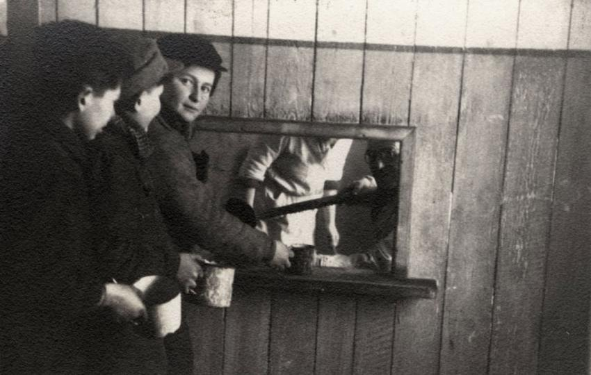 Youth in line for distribution of soup in the workers' kitchen in the Kovno Ghetto, Lithuania, December 1943