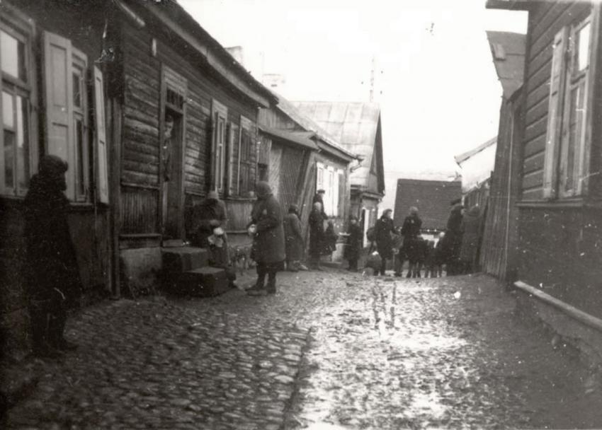 Jews in a street in the Kovno Ghetto, Lithuania, November 1943