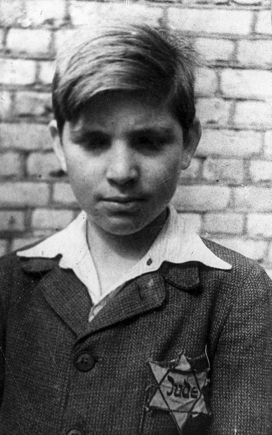 German Jewish boy wearing the yellow star on his clothes, 1942