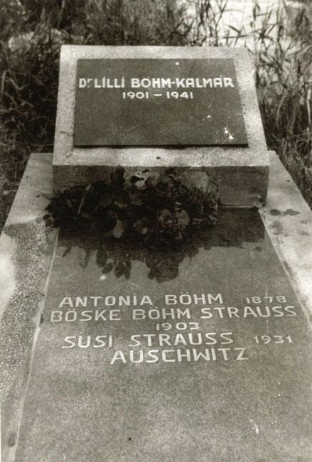 Monument inscribed with the names of the Bohem-Strauss family members murdered at Auschwitz, including the name of the young girl Suzy Strauss