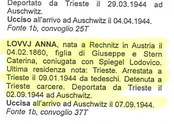 Excerpt from the memorial book for the victims of the Holocaust in Italy, listing the details of Anna Spiegel née Lovvy
