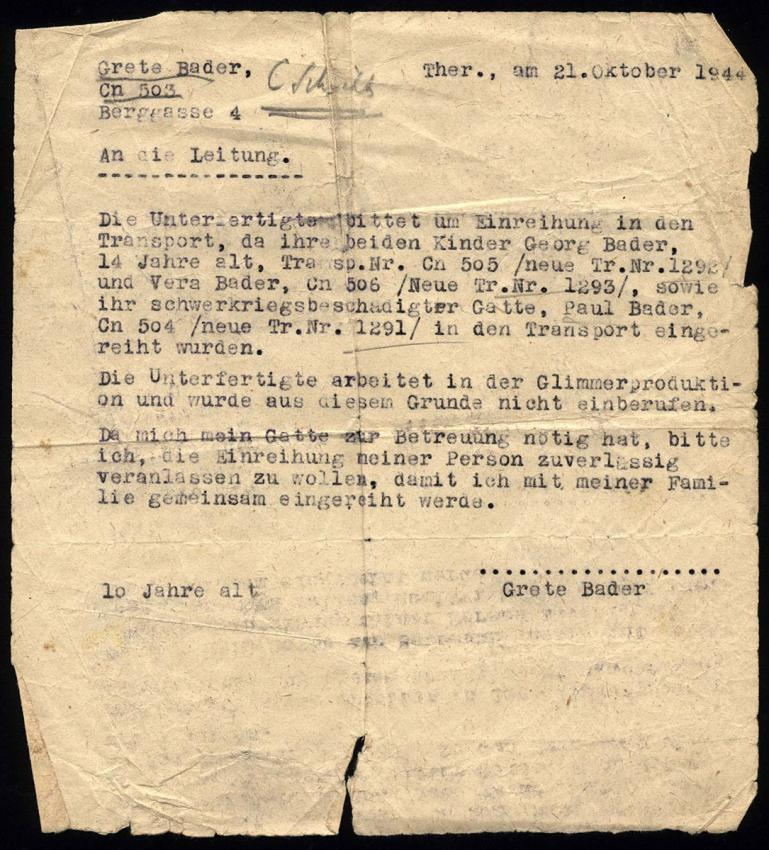 Grete Bader's letter dated 21 October 1944, requesting that she be allowed to join her family on the transport out of Theresienstadt