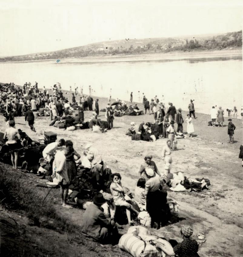 Jews gathered on the west bank of the Dniestr River before their deportation to Transnistria on the east bank of the river, June 10, 1942