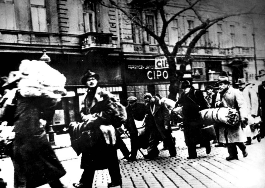 Jews saved from deportation at the last minute in Budapest, Hungary, November 1944