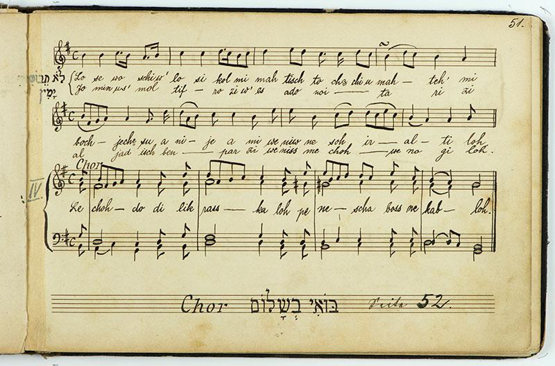Choir Song Book from the Synagogue in Mannheim that Survived the Kristallnacht Pogrom