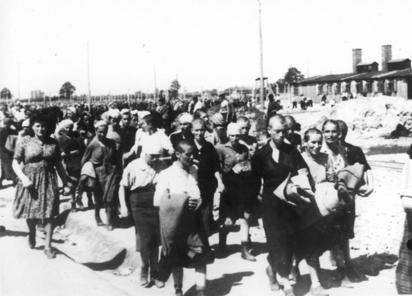 Birkenau, Poland, May, 1944, Women deemed fit for work, after the camp absorption process