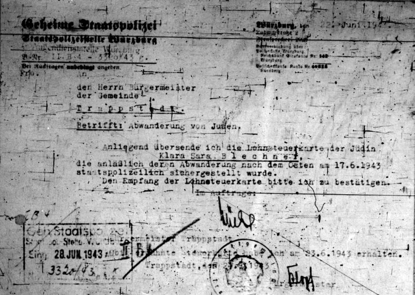June 17, 1943, Document ordering the seizure of the property of Klara Blechner, a Jew deported from Wuerzburg, Germany