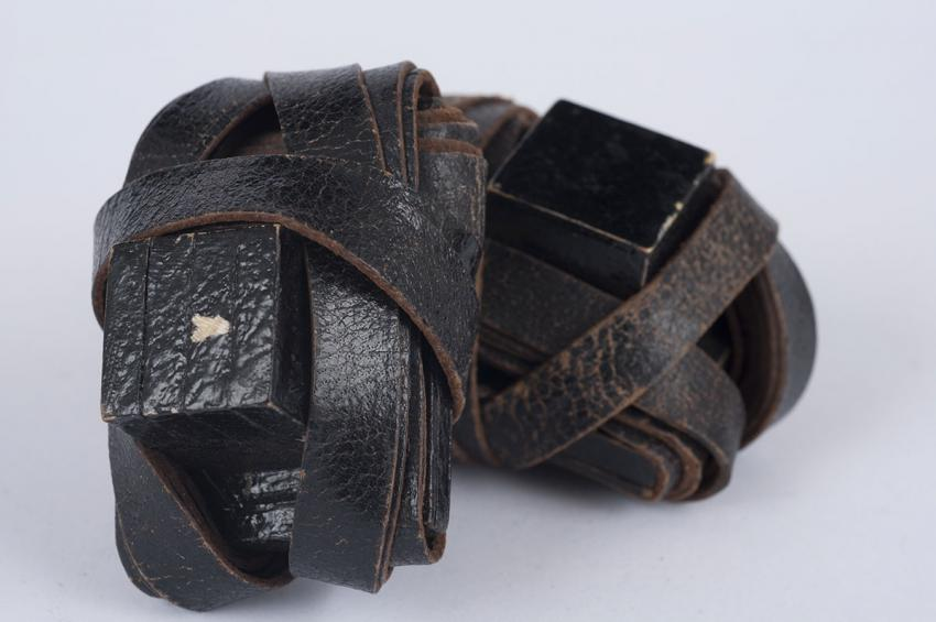 Tefillin (phylacteries) that Meir Muhlbaum received in the Westerbork camp on the occasion of his barmitzvah, from a prisoner who was to be deported to an extermination camp