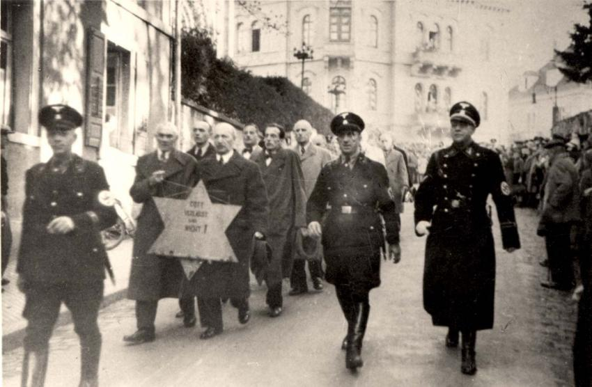Baden Baden, Germany - arrest of Jews by the SS on Kristallnacht