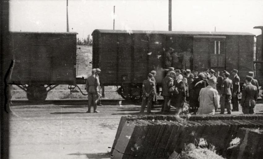 Deportation by train of the Jews of the Lodz Ghetto, Poland, August 1944