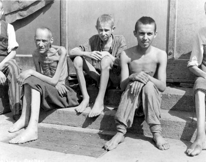Former inmates of Buchenwald, Germany, April 1945