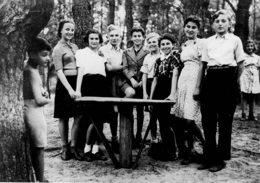 Children from the Otwock Jewish orphanage in a forest, Poland, September 1945