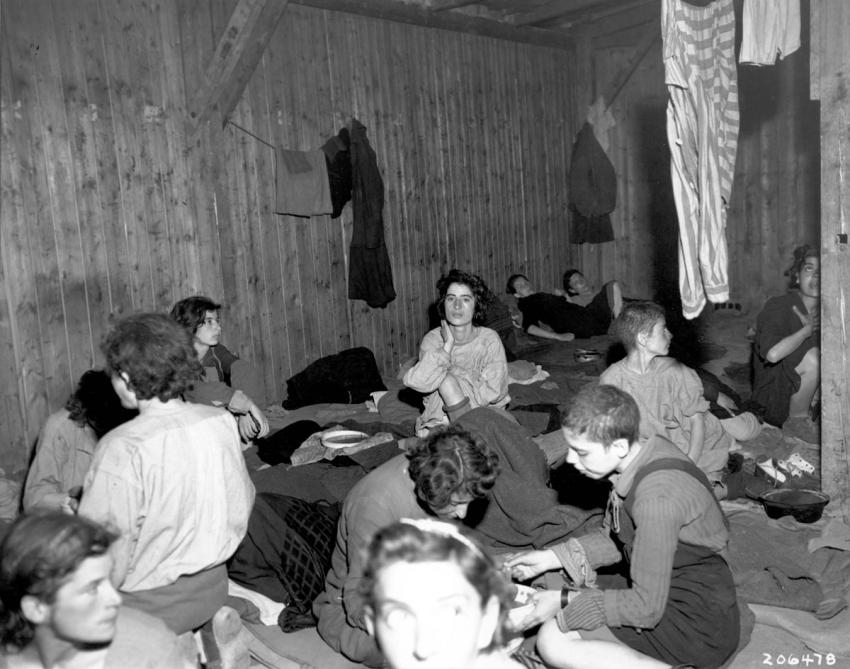 Women in a camp barracks in Gusen Concentration Camp after liberation, May 1945