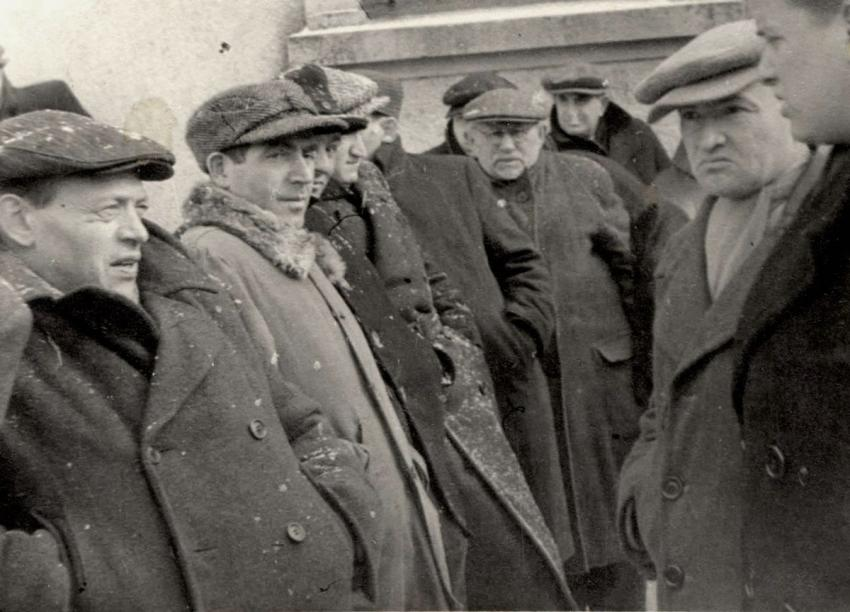 Jews in the Landsberg Displaced Persons' Camp, Germany, February 1948