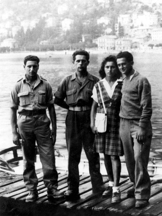 "A group of refugees in the ""Beriha"" movement in Komo, Italy, August 18, 1945"