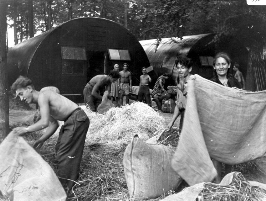 A group of passengers from the Exodus 1947, in a DP camp in Poppendorf, Germany, September 1947