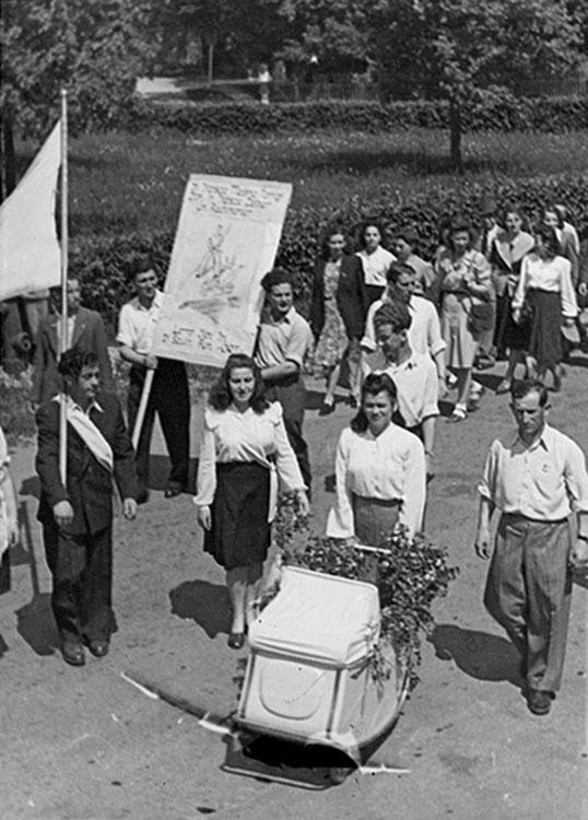 Landsberg Displaced Persons Camp - Survivors Hold Celebratory Parade Marking the Establishment of the State of Israel