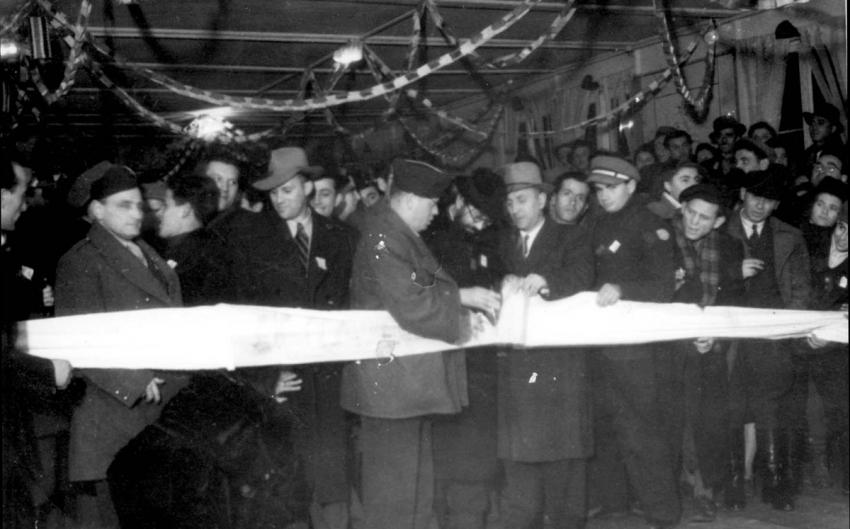 Opening of the Jewish National Fund's Bazaar in Poking Pine City Displaced Persons' Camp, Germany, December 1947