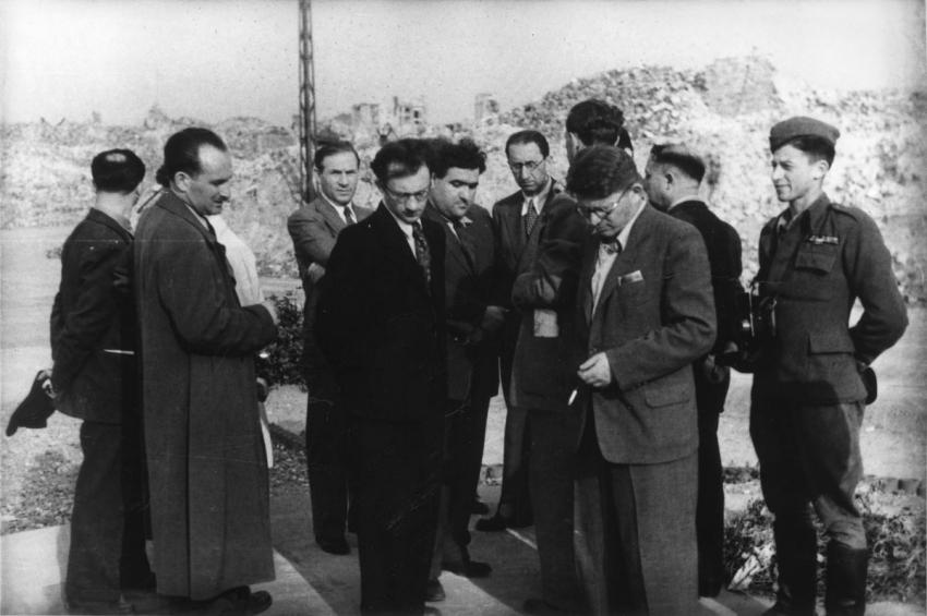 Jews from Eretz Israel visiting the ruins of the Warsaw Ghetto, Poland, June 5, 1946