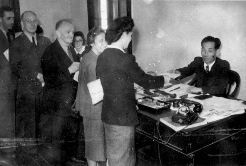Shanghai, China, Jewish Refugees in a Government Office