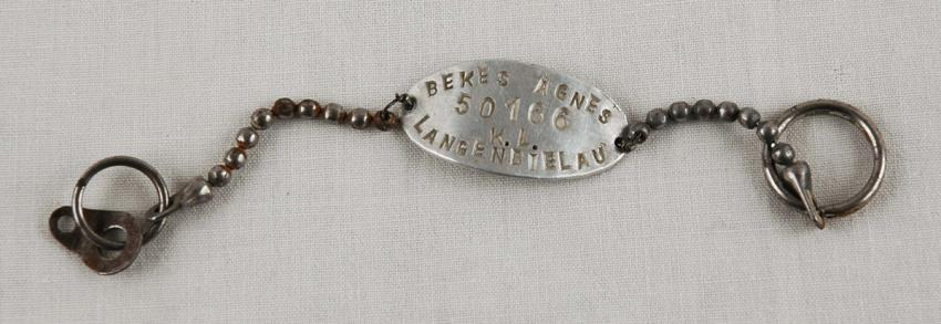 Bracelet engraved with Agnes Bekes's name and prisoner ID number at the Langenbielau forced labor camp