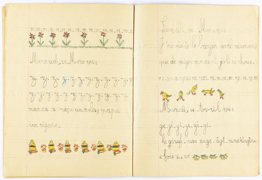 Notebook used by Clairette Vigder to practice her handwriting