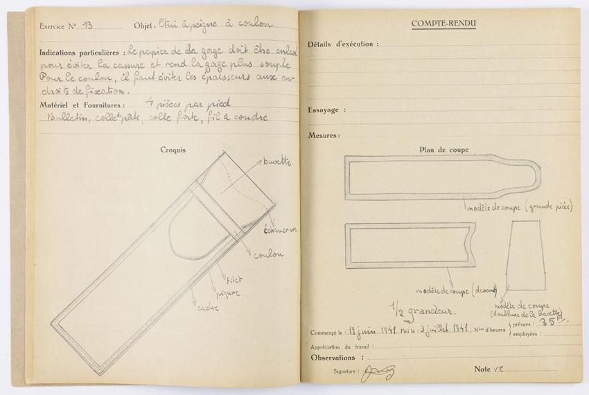 Stefan Lewy's notebook,  in which he wrote and sketched while living in hiding in the children's home in Chabannes, France.