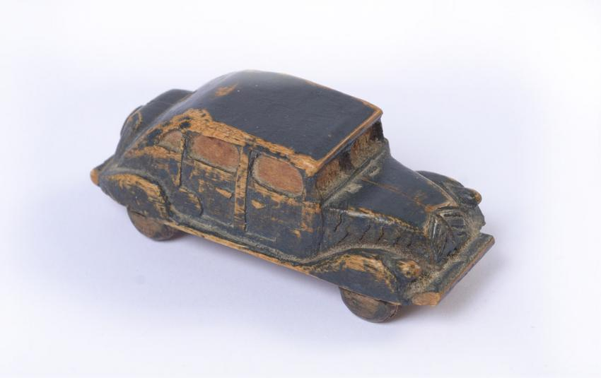 A birthday present for Mother: a hand-carved wooden car