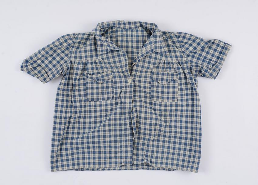 Blouse that Ahuva Ostereicher Sherwood sewed from sheets found in a POW camp after liberation
