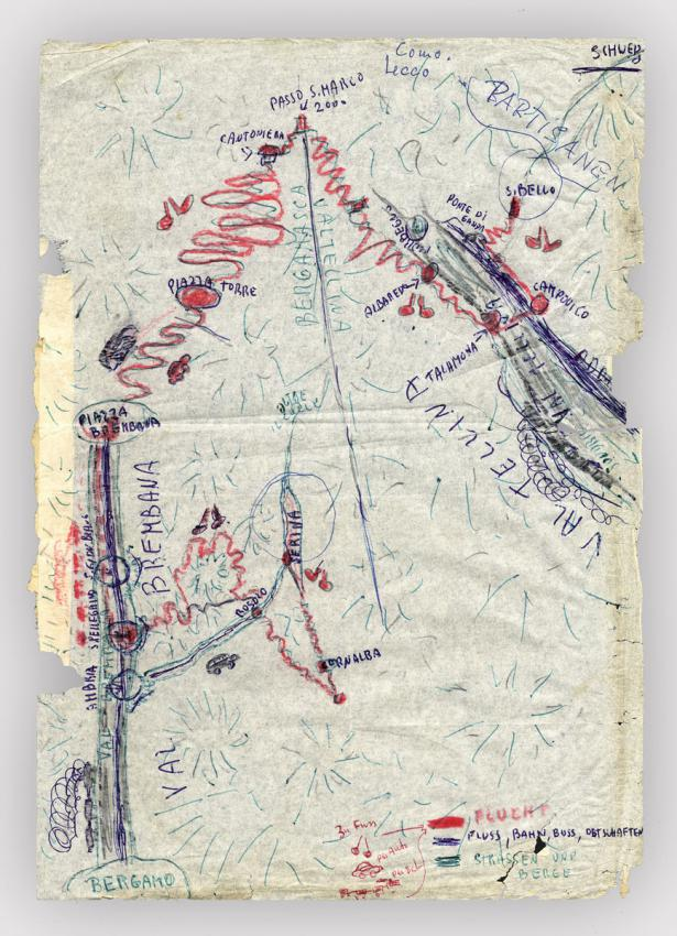 Map drawn by young Regina Zimet, depicting the route of her family's attempted flight through the mountains to Switzerland, from the Italian village of Serina to San Bello where they finally found refuge.