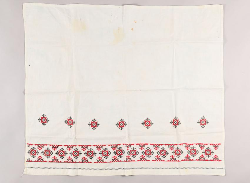 Tablecloth embroidered by Rozalia Shevchuk while sitting above the hideout of Dzyunya Vandner