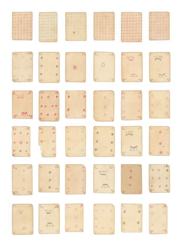 Playing cards that Inga Pollak made in an orphanage housed in a monastery in Zabgreb, Croatia
