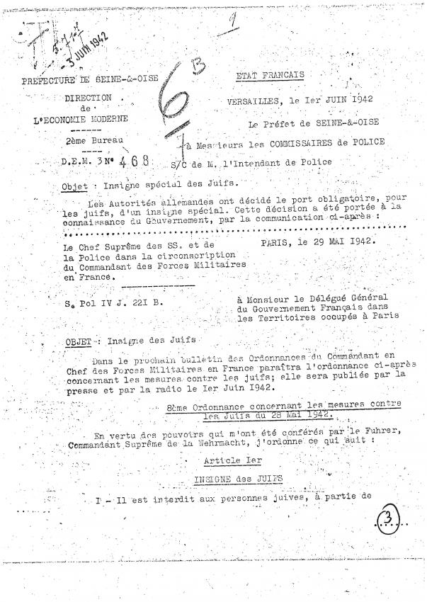 Document du 1er juin 1942 relatif à l'instauration du port obligatoire de l'étoile jaune