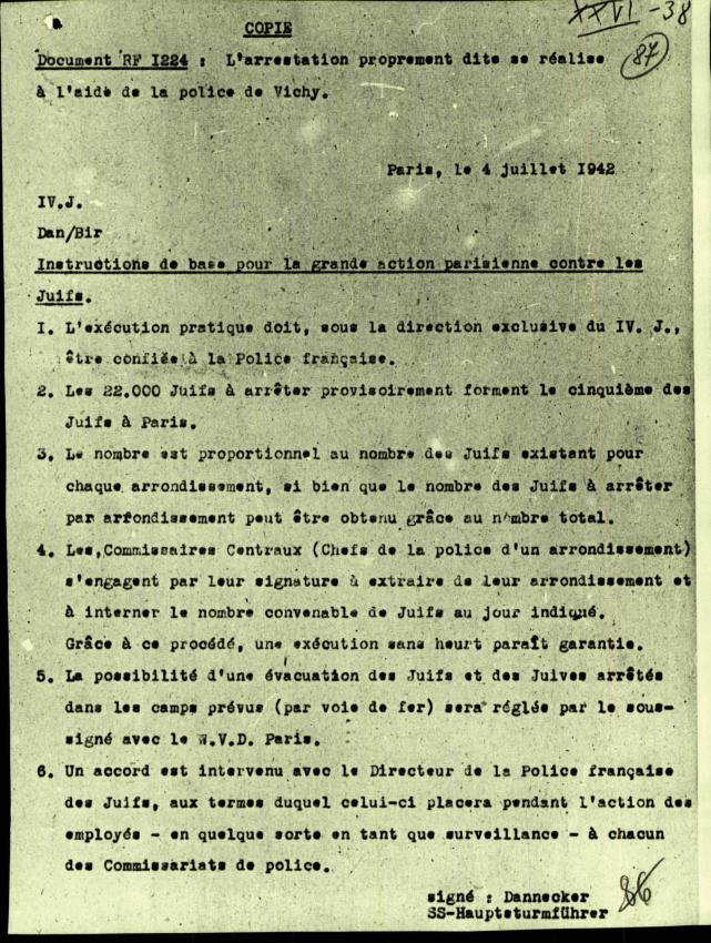 Document du 4 juillet 1942 donnant les instructions de base en vue de la rafle du Vél' d'Hiv