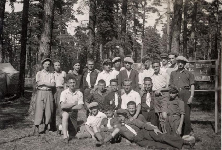 A group photograph in a Bnei Akiva Camp in Jonava, Lithuania, August 1938